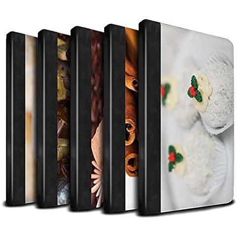 STUFF4 PU Pelle Custodia/Cover/Caso Libro per Apple iPad Mini 1/2/3 tablet / 6pcs Confezione / Cibo di Natale disegno