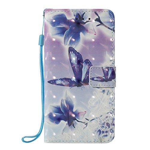 iPhone X Hülle, Asnlove Premium Leder Schutzhülle PU Leder Flip Tasche Case 3D Muster Serie Book Style mit Integrierten Kartensteckplätzen und Ständer für Apple iPhone 10 / iPhone X 5.8 Zoll 2017 - Kü Blaue Kornblume