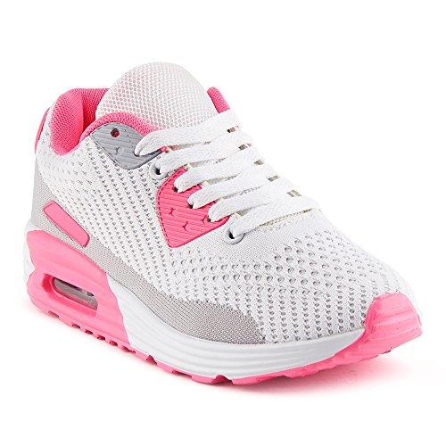 FiveSix Herren Damen Sneaker Sportschuhe Laufschuhe Freizeitschuhe Dämpfung Strick Schnürschuhe Low-Top Unisex Schuhe Pink/Grau-W EU 40