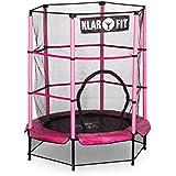 Klarfit Rocketkid cama elástica infantil con red de seguridad (140 cm de diámetro, apta para exterior o interior, peso máximo 50 kg, varillas de sujeción acolchadas, lona resistente a los rayos UV) - rosa