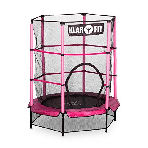 Klarfit Rocketkid • Cama eslástica • Cama elástica infantil • A partir de 3 años • 140 cm diámetro • Red de seguridad • Suspensión de cuerda elástica • Carga máxima: 50 kg • Borde acolchado • Rosa