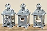 Laterne mit Herz 3er Set Windlicht Holz Gartendeko Shabby Kerze Teelicht