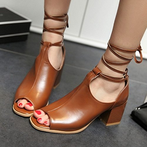 RAZAMAZA Femmes Lacets Sandales brown