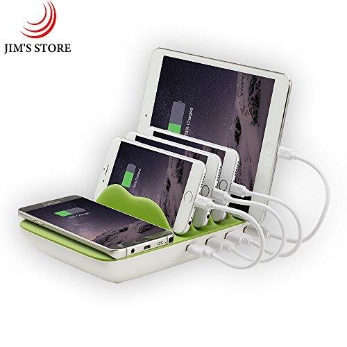 Ladestation Organizer, 4-Port Fast Smart USB Lade-HUB Desktop Lade-Dock mit QI Wireless-Ladegerät & 4 Handy-Kabel für iPhone 7 / 7s / 8/ X / iPad / Huawei/ Samsung / Smartphones (Grün)
