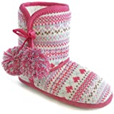 Girls Pink Nordic Pattern Jacquard Knit Fleece Lined Bootie Slippers With Pom Pom Trim