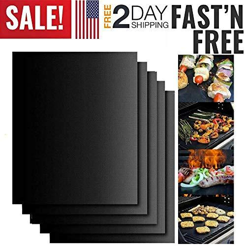 NJSTAR BBQ Grill Mat Set von 5, Backmatten Antihaft-Matte Black Pad Bake Cooking, Matten perfekt zum Backen auf Gas, Holzkohle, Ofen und, wiederverwendbaren, langlebigen, hitzebeständigen Grill
