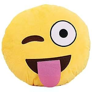 Manchester cas mignon coussin Smiley Taie d'oreiller, jaune ronde Taie d'oreiller Coussin rembourré en peluche douce toy-tongue
