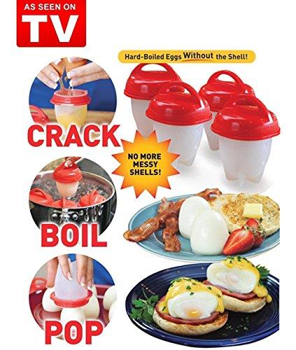 Egglettes - Eierkocher Hard & Soft Maker, Keine Schale, Antihaft-Silikon, Wilderer, Gekocht, Steamer, WIE IM TV GESEHEN (4)