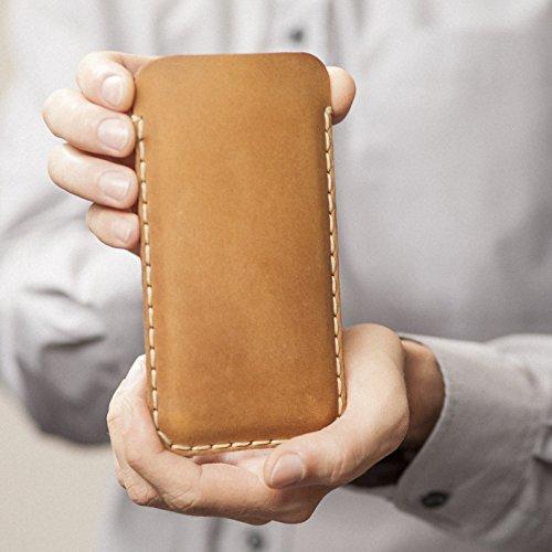 Étui Brun Clair pour Samsung Galaxy S9, S8 en Cuir Véritable. Coque Housse Case Cover Pochette