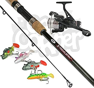 NGT X-treme Spin 7ft 2 Piece Carbon Spinning Rod With Reel + 4 Software Lures by NGT