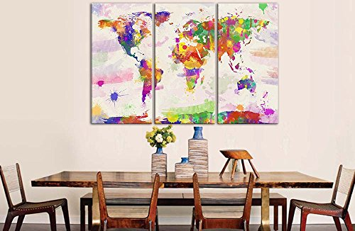 Impresión en acuarela de mapa del mundo sobre lienzo, cuadros para decoración del hogar, 3 piezas, imágenes para sala de estar, decoración, impresiones de fotos sobre Lienzo
