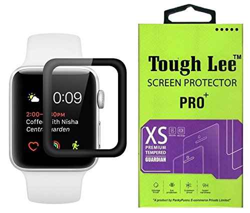 Apple Watch Series 3 Tempered Glass – Screen Guard – Screen Protector – 42mm inch, Black Colour, Full Screen Edge to Edge Glass Gorilla Cover for Apple Watch Series 3 by Tough Lee