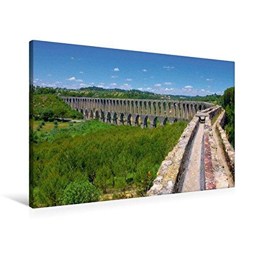 Calvendo Premium Textil-Leinwand 90 cm x 60 cm quer, Aquädukt in Tomar | Wandbild, Bild auf Keilrahmen, Fertigbild auf echter Leinwand, Leinwanddruck Orte Orte -