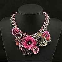 CHENGYIDA ROSE- Crystal Wild Collar Fashion Necklace,Fashion Gold Chain Crystal Flower Bib Big Statement Chunky Necklace Collar