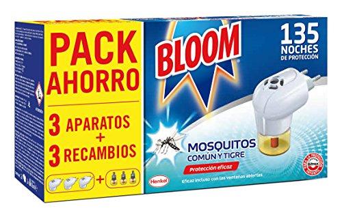 Bloom Eléctrico Líquido Contra Mosquitos Común y Tigre - 3 Aparatos + 3 Recambios