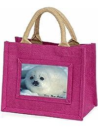 White Sea Lion 'Love You Mum' Little Girls Small Pink Shopping Bag Christmas Gif