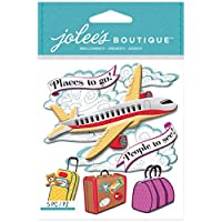 Jolees Boutique Dimensional Stickers, Airplane, Acrylic, Multicolour, 4.2x6.1x0.2 cm