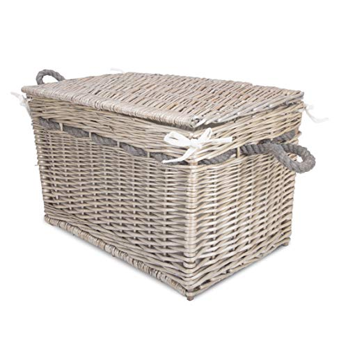 Greenleaves Vintage Wicker Trunk Baby Nursery Toys Blanket Storage Chest Basket Box Bedside