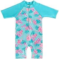 fbf1b1b5d4af6 HUAANIUE Little Girls UPF 50+ UV One Piece Flower Swimwear Bodysuit with  Ziper 2-