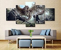 CANPIC Monster Hunter Wandkunst Malerei 5 Panels Leinwand Wanddekor Bild für Wohnzimmer Dekoration 30X40 30X60 30X80 cm kein Rahmen