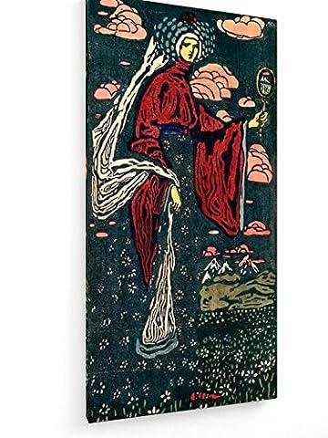 Wassily Kandinsky - Der Spiegel - Linolschnitt 1907 - 20x40 cm - Textil-Leinwandbild auf Keilrahmen - Wand-Bild - Kunst, Gemälde, Foto, Bild auf Leinwand - Alte Meister / (Russische Folklore Kostüme)