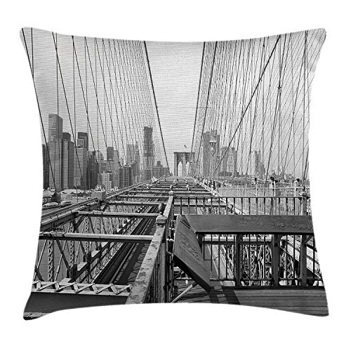 (Modern Throw Pillow Cushion Cover, Vintage View Brooklyn Bridge in York City Mechanic USA American Print, Decorative Square Accent Pillow Case, 18 X 18 inches, Black White)