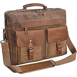 NEWHEY Aktentasche Herren Umhängetaschen Wasserdichte 15.6 Arbeitstasche Vintage Canvas Notebook Groß Laptoptasche Messenger Bag Männer Leder Braun