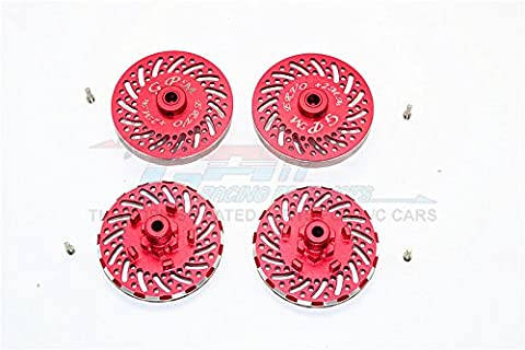 Traxxas E-Revo Brushless Edition Upgrade Pièces Aluminium Wheel Hex Claw +2mm With Brake Disk - 4Pcs Set Red