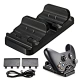 Hovisi Xbox One 2 Pcs Battery Packs Controller Charger Dual Charging Dock Station With Battery(1200m Ah) For X One Wireless Controller