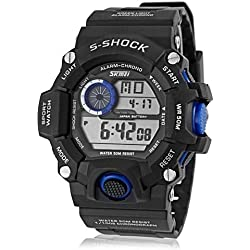 Lightinthebox®Men's Watch Military Sports Multi-Function Rubber Band LCD Water, Shock Resistant, Quartz Digital Wrist Watch, Calendar, 30M Water resistance (Blue)