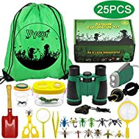 Vykor Outdoor Explorer Kit Toys Kids Adventure Kit for Children Bug Catcher Set 25PCS Explorer Accessories Kids Binoculars Toy Set Educational Gifts for Kids Nature Gifts for Insect Lovers Nature Toys