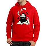 lepni.me Sudadera con Capucha Halloween Horror Nights - The Death is Playing on Piano - Cool Scarry Design (Medium Rojo