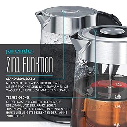 Arendo-Glas-Wasserkocher-mit-Temperatureinstellung-und-TeesiebTeekocher-Einstellbare-Temperaturen-40C-70C-80C-100C-17-Liter-Abschaltautomatik-Warmhaltefunktion