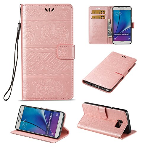 Für Samsung Galaxy Note 5 Premium Leder Schutzhülle, weiche PU / TPU geprägte Textur Horizontale Flip Stand Case Cover mit Lanyard & Card Cash Holder ( Color : Brown ) Pink