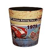 FOKOM Papierkorb, Vintage Retro Klassisch PU Leder Papierkorb Büro Mülleimer Abfalleimer Papierkorb Trash Bin Ohne Deckel