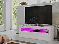 FoxHunter Modern High Gloss Matt TV Cabinet Unit Stand White RGB LED Light Home Furniture TVC08 155cm