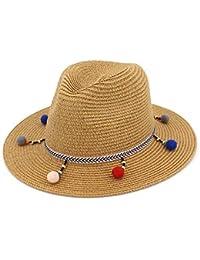 d85728cf2e6c3 Sombrero De Paja para Mujer Elegante Sombrero Ancho con Protector Bastante  Solar Exquisito Borde Tela Ocio