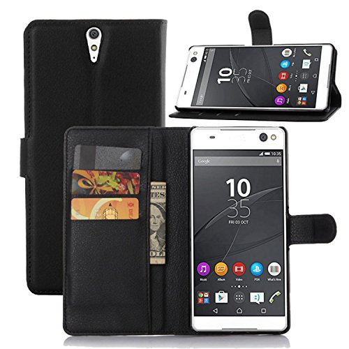 Tasche für Sony Xperia C5 Ultra (6 zoll) Hülle, Ycloud PU Ledertasche Flip Cover Wallet Case Handyhülle mit Stand Function Credit Card Slots Bookstyle Purse Design schwarz