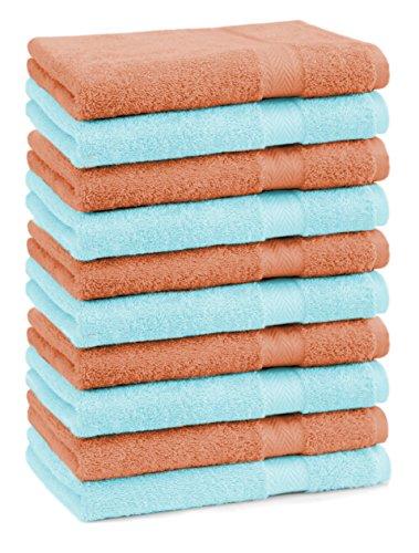 BETZ lot de 10 serviettes débarbouillettes taille 30x30 cm 100% coton Premium couleur turquoise et orange