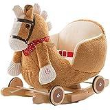 BAKAJI Cavallo a Dondolo in Legno Struttura Basculante con Ruote Cavallino Poni 2 in 1 con Poltroncina e Divertente suoneria per i più Piccoli (Marrone Chiaro)