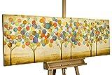 KunstLoft® Gemälde 'Buntes Herbstlaub' in 150x50cm | XXL Leinwandbild handgemalt | Bunte abstrakte Bäume im Wald auf Beige | signiertes Wandbild-Unikat | Acrylgemälde auf Leinwand | Modernes Kunstbild | Sehr großes Acrylbild auf Keilrahmen