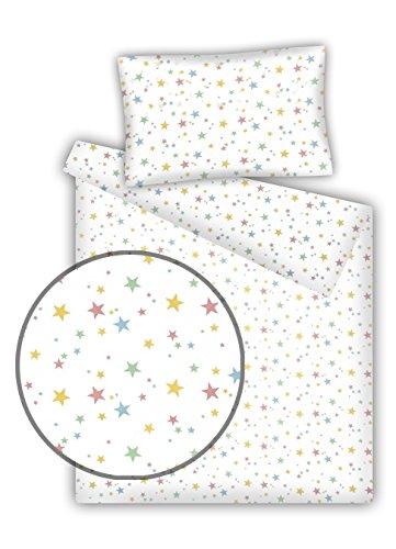 Juego de ropa de cama infantil, diseño de estrellas, 2 piezas, 100% algodón (40 x 60 cm + 100 x 135 cm), con cierre cremallera Pastel