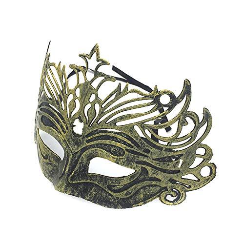 Daliuing Unisex Venezianische Maske, Vintage Karneval Gras Kunststoff Festival Maske Zubehör Halloween Karneval Party Decor 25 * 16cm gold