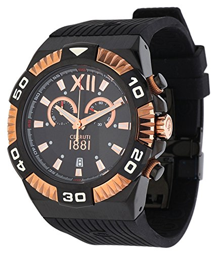 Cerruti 1881 Diamond CRWA038D224Q Men Chronograph Watch 44 mm Black Rubber Strap Swiss Made Rose Gold Tone