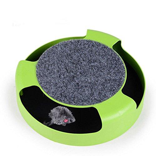 owikar Pet Funny Toys Cat Crazy Interaktiver Unterhaltungs-Drehplatte mit Maus innerhalb Katze Bildungs-Spielzeug Maus Plattenspieler Kratzfläche Spielzeug für Katze Kitty Kätzchen (Doppeltem Mini Flap)
