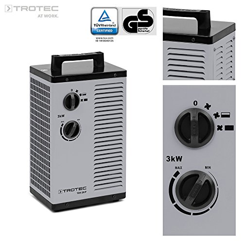 TROTEC Keramik Heizlüfter Elektroheizer TDS 20 P 3-stufig bis 3.000 Watt (3 kW) Bauheizer mit...