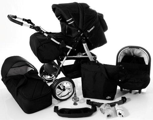 Chilly Kids iCaddy Kinderwagen Komplettset (Autositz, Regenschutz, Moskitonetz, Getränketablett, Wickelunterlage) 02 Schwarz