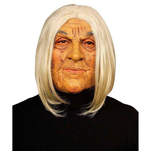 NET TOYS Oma Maske Omamaske weiß-hautfarben Alte Frau Maske Großmuttermaske Gesichtmaske Hexe Fasching Halloween