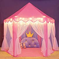 Durable Kids Playhouse for Indoor & Outdoor Games, Stimulate Pretend and Imaginative Play, Have Fun, Encourage Social Interaction (Tent with Light)
