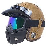 Espace Multimédia Helmets ZR casque de moto, casque Jet, casque Bol, lunette pour casque de moto/scooter, protection faciale Homologué (L(59-60CM))